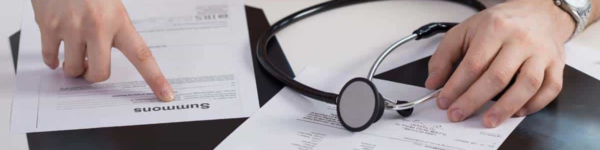 Medical lawsuit title on documents