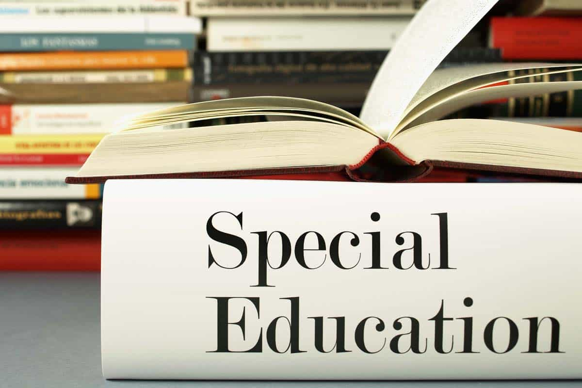 Open book with special education label