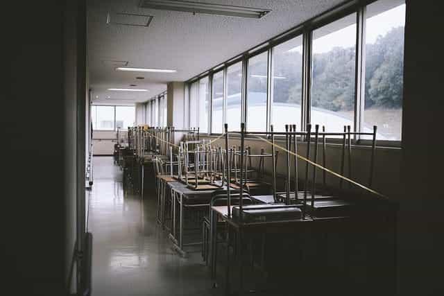 Empty school with desks