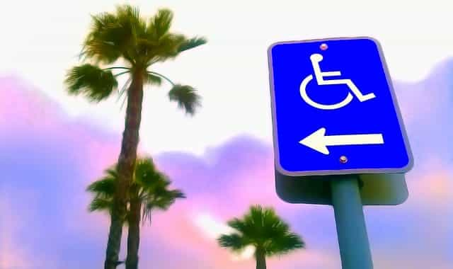wheelchair access sign and palm trees