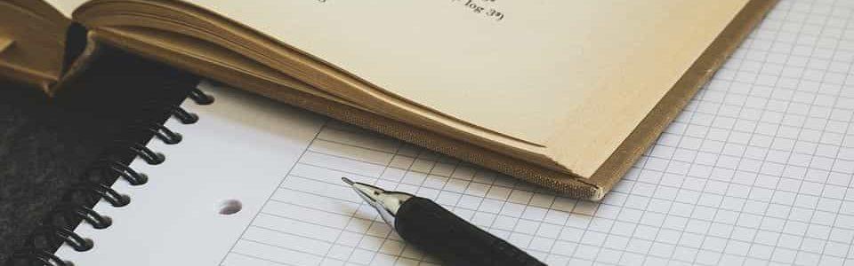 math book and pen