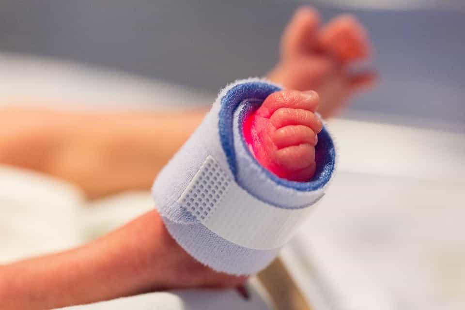 Premature infant's foot