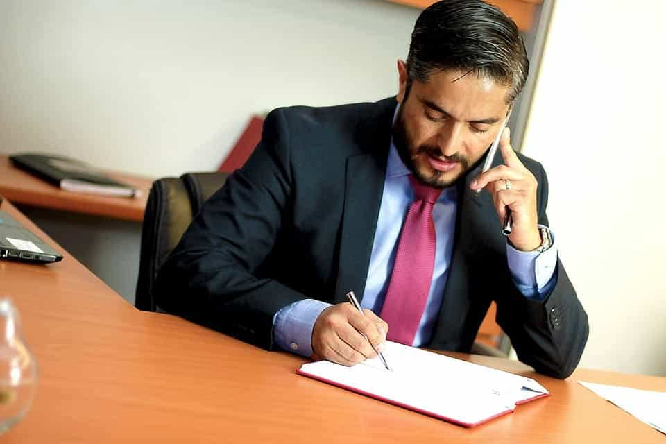 lawyer on phone