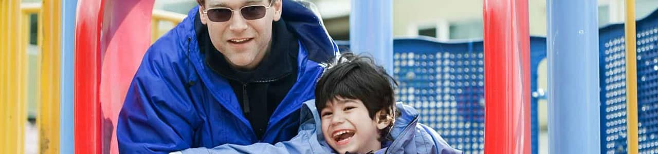 dad and son at park